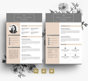 Clean and Professional CV Template/ 2 page CV + Cover letter/ PSD file
