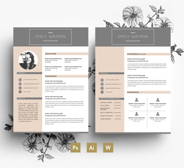 clean and professional cv template 2 page cv cover
