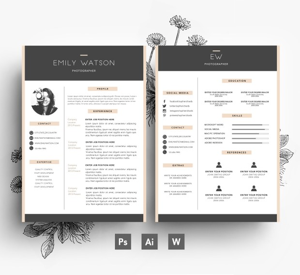 Creative CV template/ 2 page CV + Cover Letter/ Fonts included
