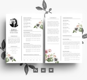 Custom CV template/ 2 page CV + Cover Letter/ PSD + Word