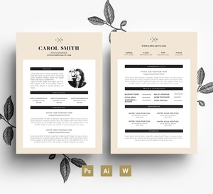 Custom CV template/ Editable 2 page Resume and Cover letter/ PSD file