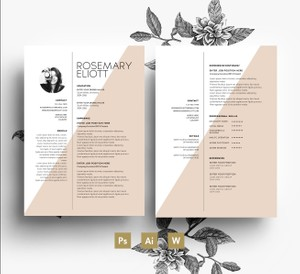 Professional CV Template/ Resume + Cover Letter/ Editable PSD Files