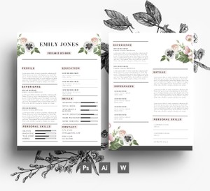 CV Template / Cover Letter template /Word + PSD/ Fonts included / Custom design