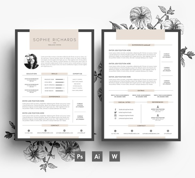 Custom Resume Template/ 2 page CV + Cover Letter/ PSD File