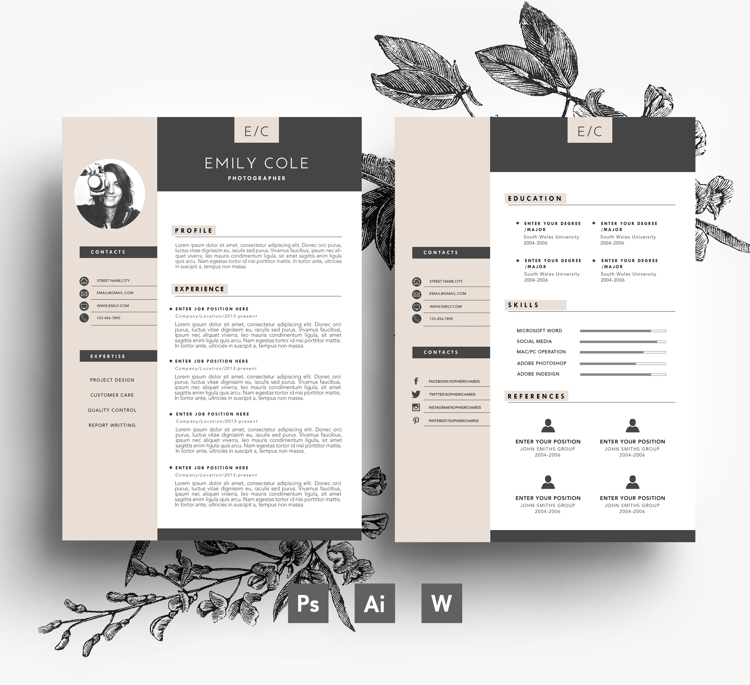 Amazing Cover Page Templates Word Psd: Word Format + PSD / CV Template + Cover Letter, 3 Page