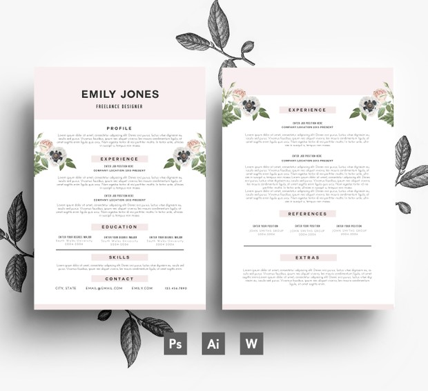 Creative CV template/ 2 page CV + Cover Letter/ PSD + Word