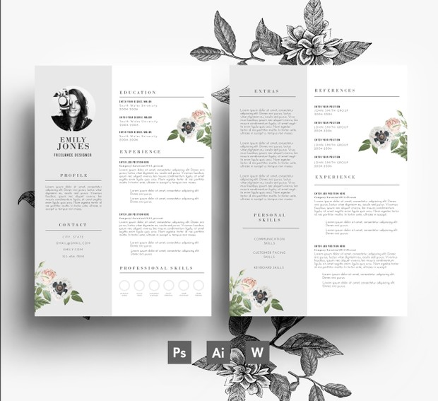 Professional CV template/ 2 page CV + Cover letter/ PSD + Word