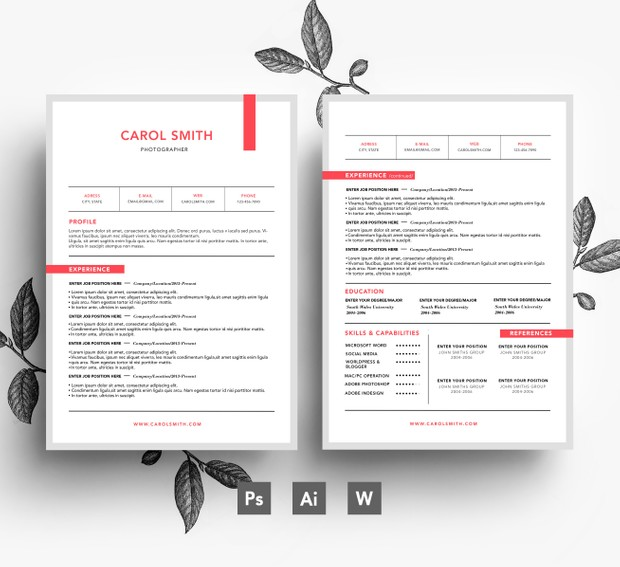 Instant Digital Download PSD Resume Template/ 2 page CV + Cover letter