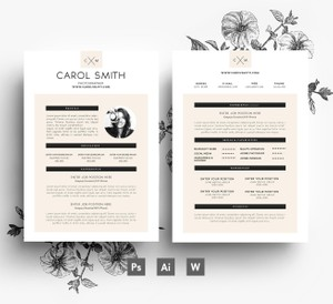 Resume/ Custome 2 page template + Cover letter/ editable PSD template