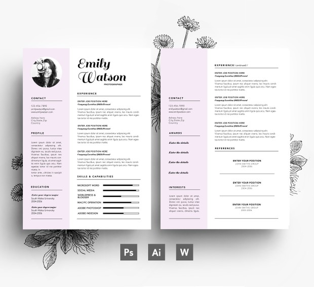 Custom 2 page Resume Template + Cover letter/ 3 page PSD file