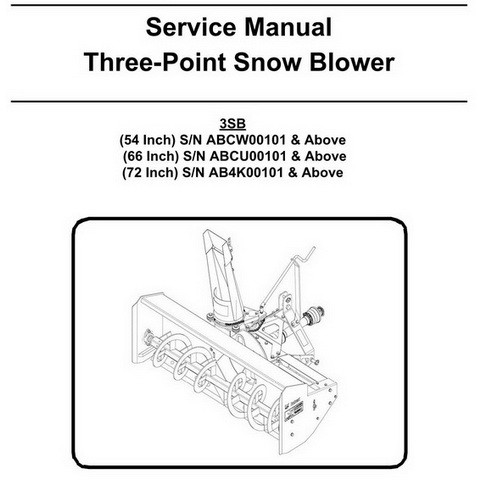 Bobcat 3SB (54, 66, 72 Inch) Three-Point Snow Blower Workshop Repair Service Manual - 6987121