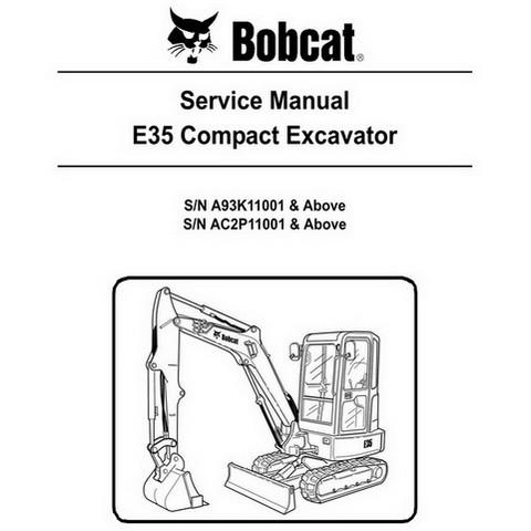 Bobcat E35 Compact Excavator Repair Service Manual - 6987276