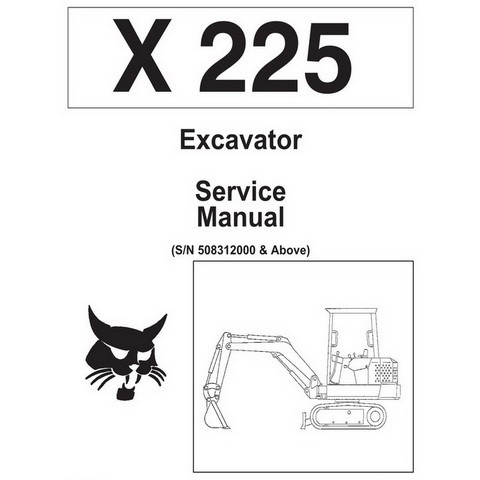 Bobcat X225 Excavator Repair Service Manual - 6720874