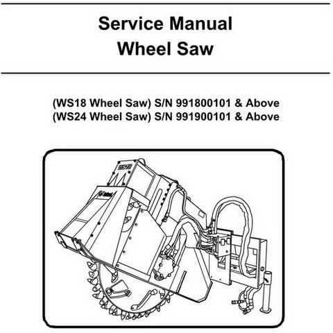 Bobcat WS18-WS24 Wheel Saw Workshop Repair Service Manual - 6901389