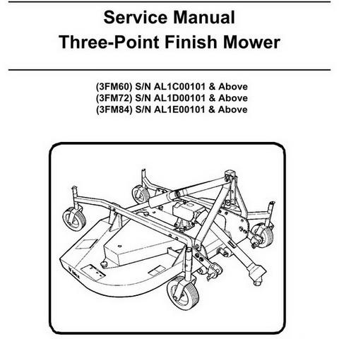 Bobcat 3FM60, 3FM72, 3FM84 Three-Point Finish Mower Workshop Repair Service Manual - 6989546