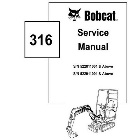 Bobcat 316 Excavator Repair Service Manual - 6902285