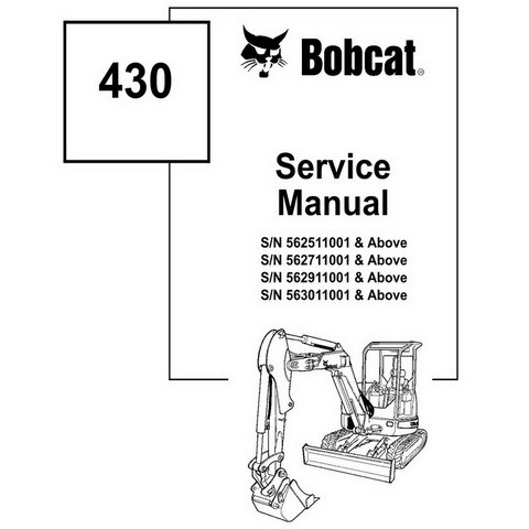 Bobcat 430 Compact Excavator Repair Service Manual - 6902318