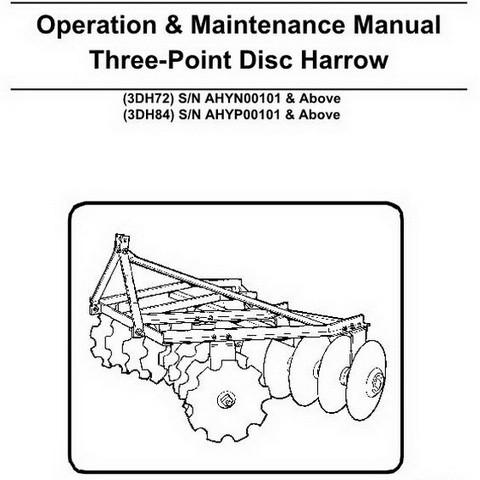 Bobcat Three-Point Disc Harrow Operation and Maintenance Manual - 6989428