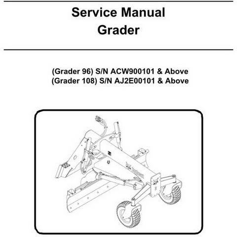 Bobcat 96 & 108 Grader Workshop Repair Service Manual - 6987469