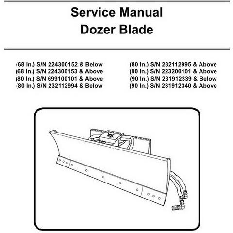 Bobcat 68, 80, 90 Inch Dozer Blade Workshop Repair Service Manual - 6900896