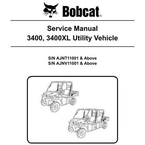 Bobcat 3400, 3400XL Utility Vehicle Workshop Repair Service Manual - 6989602
