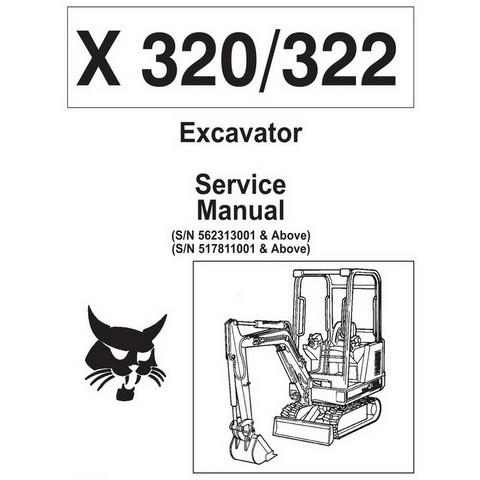 Bobcat X320, X322 Excavator Repair Service Manual - 6724910