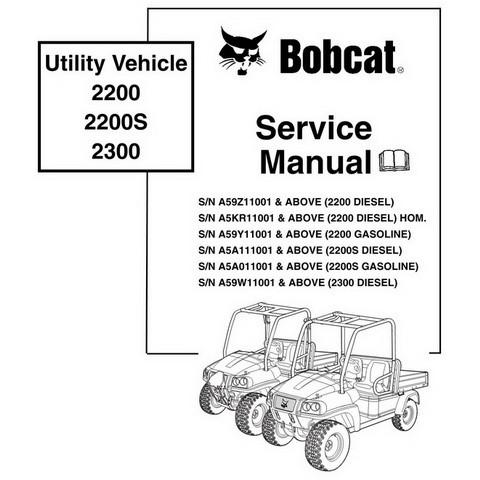 Bobcat 2200, 2200S, 2300 Utility Vehicle Workshop Repair Service Manual - 6904893