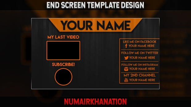 youtube end screen template numairkhanation