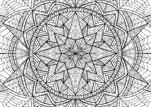 Direction Star Coloring Mandala poster.