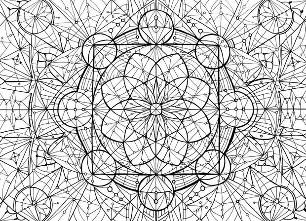 Meditation Mandala Coloring -  Earth and Moon Dance