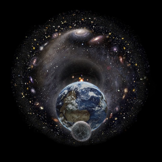 Moon, Earth and the Universe (no borders version) (high resolution 8400px * 8400px)