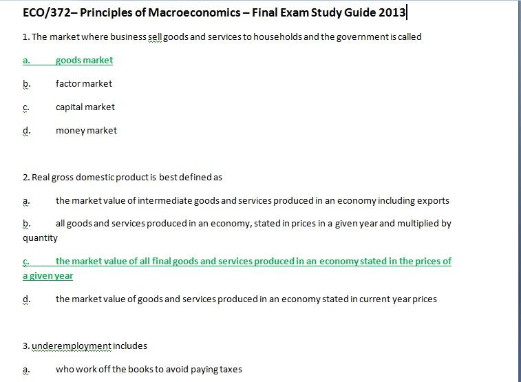eco 372 principles of macroeconomics final exam Eco 372 week 5 final exam (2017 newest version)docx  eco/372 principles of macroeconomics  documents similar to eco372 eco 372docx.