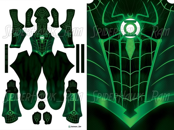 Green Lantern Spiderman Pattern