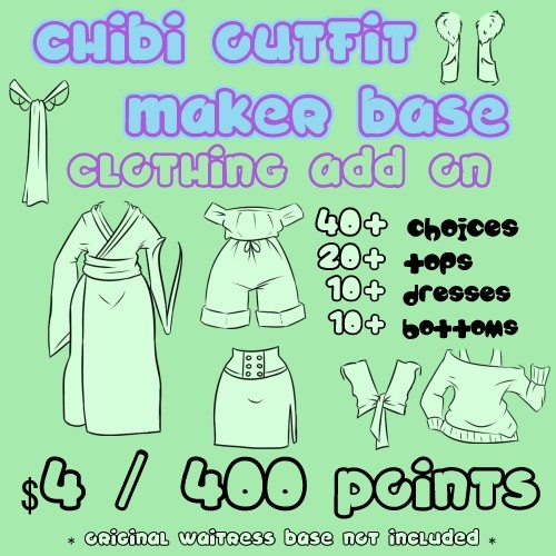 Waitress Chibi Outfit Maker CLOTHING Add On