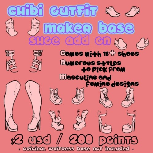 Waitress Chibi Outfit Maker SHOE Add On