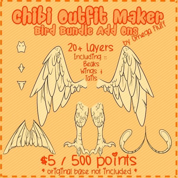 Chibi Outfit Maker Bird Bundle Add Ons