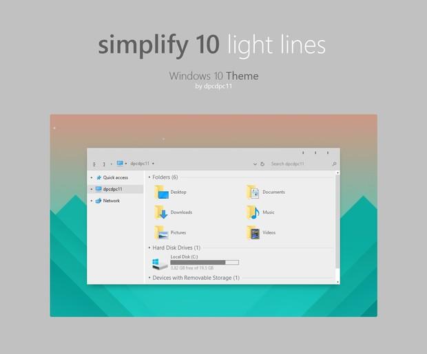 Simplify 10 Light Lines - Windows 10 Theme