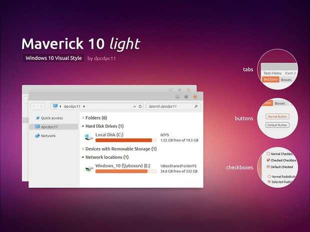 Maverick 10 Light - Windows 10 Theme