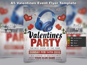 Valentines Event Flyer Template (A5 PSD)