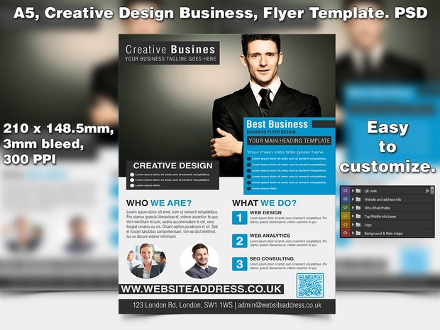 Creative design business flyer template a5 psd accmission Image collections