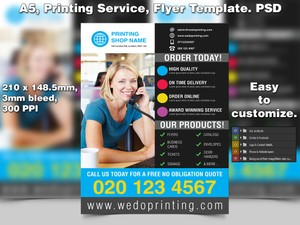 Printing Service Flyer Template (A5 PSD)