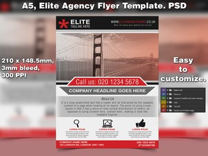 Elite Agency flyer Template A5 PSD