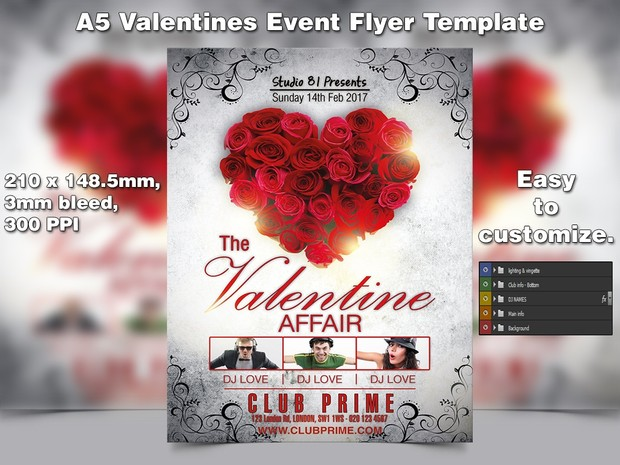 Valentines Event Flyer Template A5 Psd