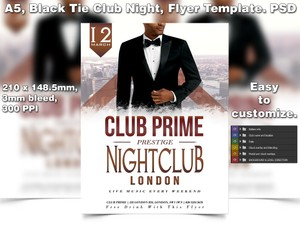 Black Tie Club Night Flyer Template (A5 PSD)