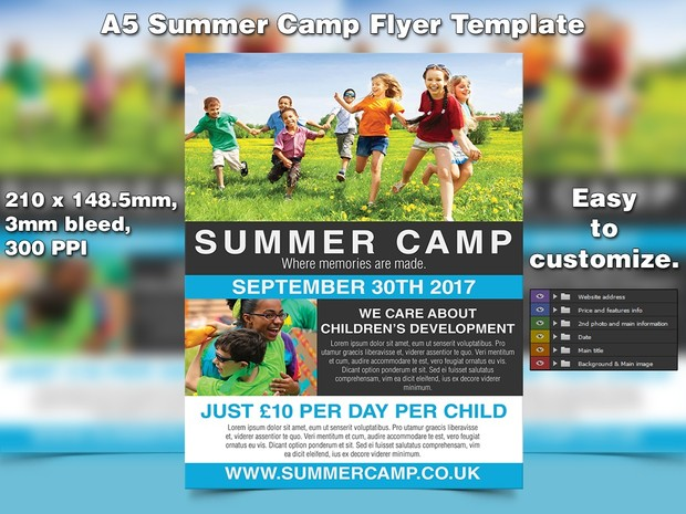 Summer Camp Flyer Template A5 Psd Studio81
