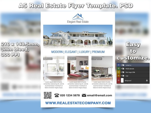 Elegant Real Estate Flyer Template (PSD)