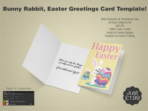 Bunny Rabbit, Easter Greetings Card Template 2 - (AI & PSD)