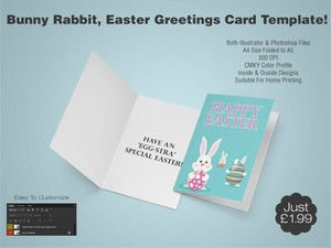 Bunny Rabbit, Easter Greetings Card Template 1 - (AI & PSD)
