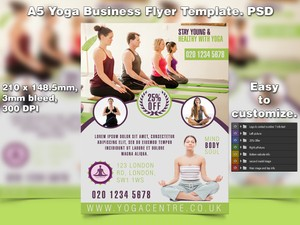 A5 Yoga Business PSD Flyer Template 6
