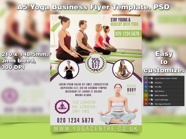 A5 Yoga Business PSD Flyer Template 6
